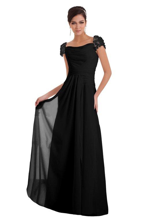 ColsBM Carlee Black Elegant A-line Wide Square Short Sleeve Appliques Bridesmaid Dresses