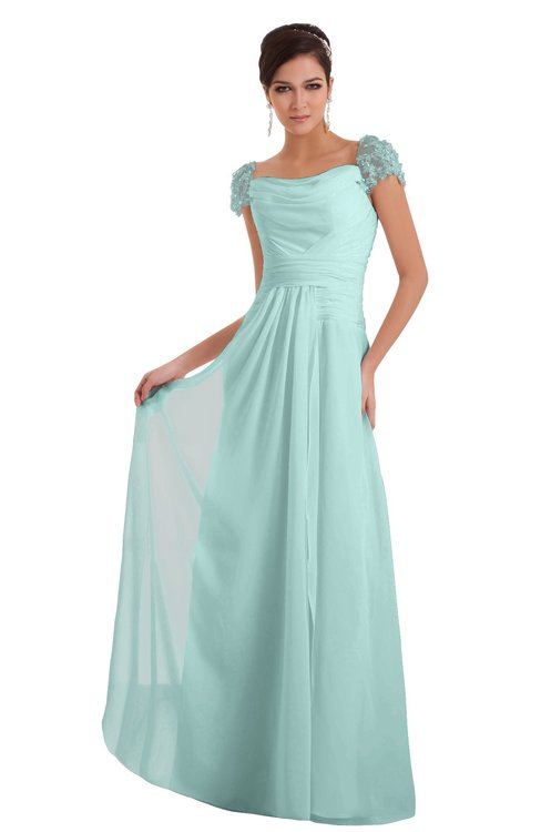 ColsBM Carlee Blue Glass Elegant A-line Wide Square Short Sleeve Appliques Bridesmaid Dresses