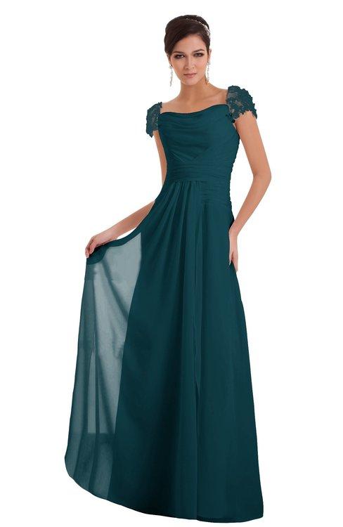 ColsBM Carlee Blue Green Elegant A-line Wide Square Short Sleeve Appliques Bridesmaid Dresses