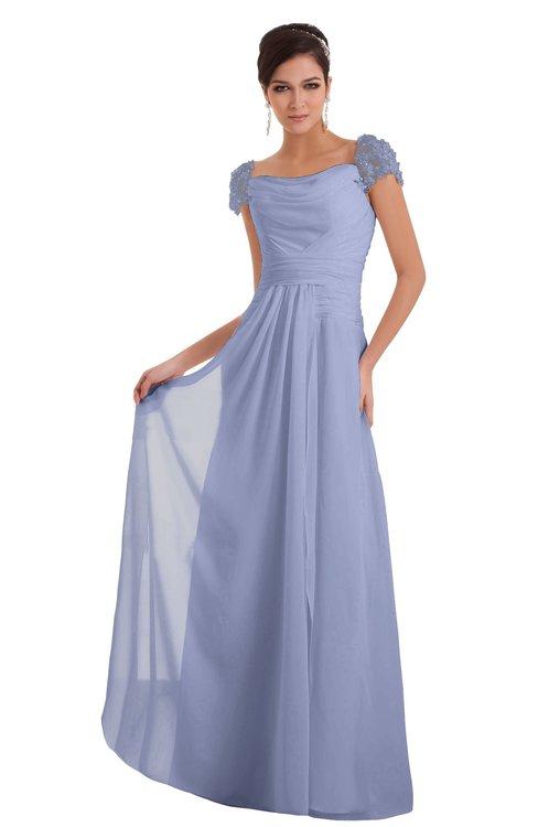 ColsBM Carlee Blue Heron Elegant A-line Wide Square Short Sleeve Appliques Bridesmaid Dresses