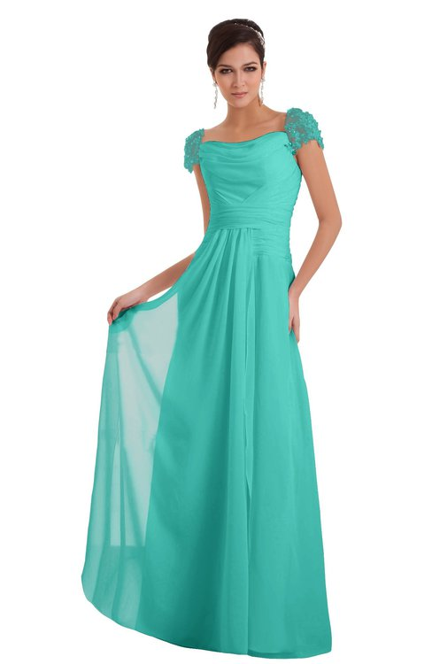 ColsBM Carlee Blue Turquoise Elegant A-line Wide Square Short Sleeve Appliques Bridesmaid Dresses