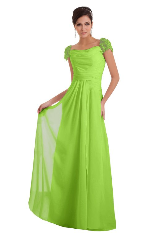 ColsBM Carlee Bright Green Elegant A-line Wide Square Short Sleeve Appliques Bridesmaid Dresses