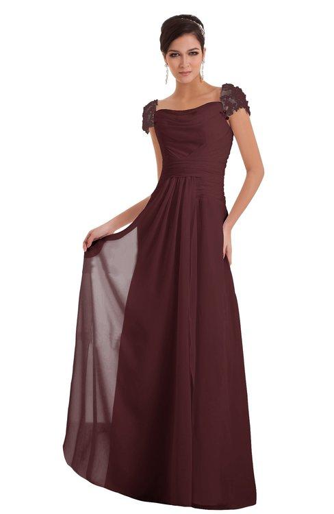 ColsBM Carlee Burgundy Elegant A-line Wide Square Short Sleeve Appliques Bridesmaid Dresses