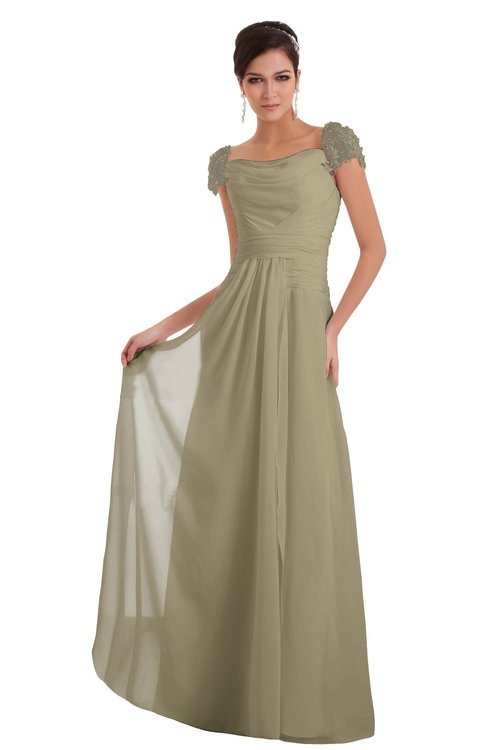 ColsBM Carlee Candied Ginger Elegant A-line Wide Square Short Sleeve Appliques Bridesmaid Dresses