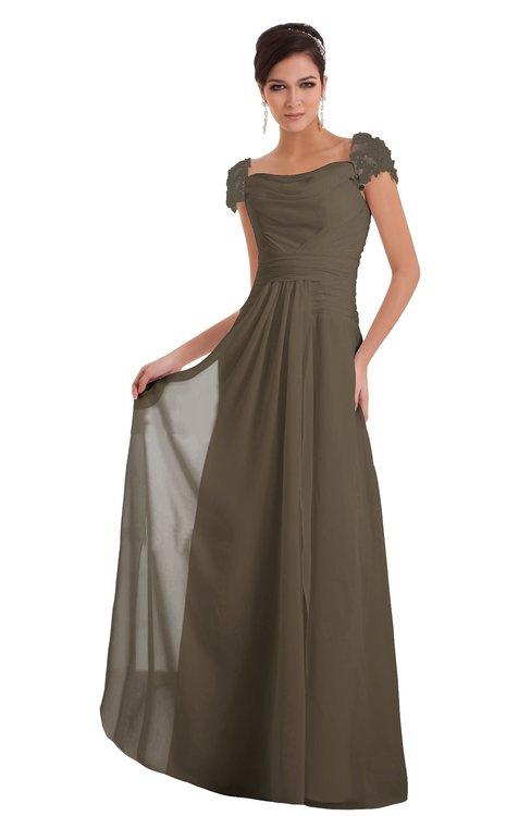 ColsBM Carlee Carafe Brown Elegant A-line Wide Square Short Sleeve Appliques Bridesmaid Dresses