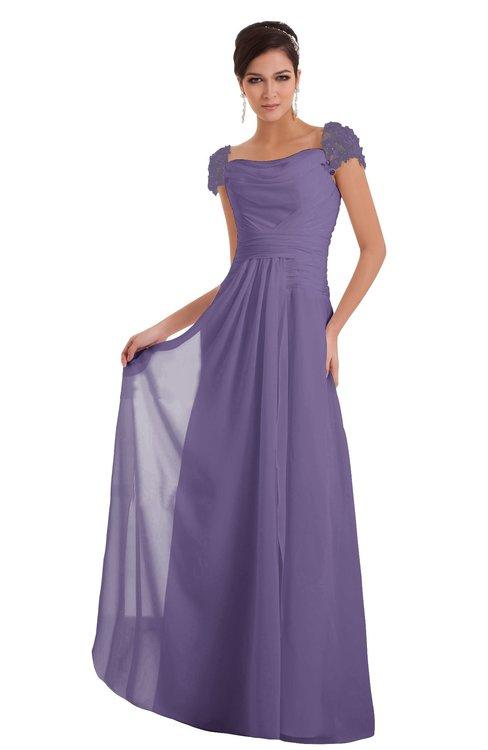 ColsBM Carlee Chalk Violet Elegant A-line Wide Square Short Sleeve Appliques Bridesmaid Dresses