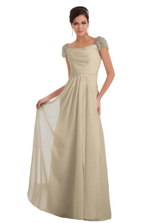 ColsBM Carlee Champagne Elegant A-line Wide Square Short Sleeve Appliques Bridesmaid Dresses