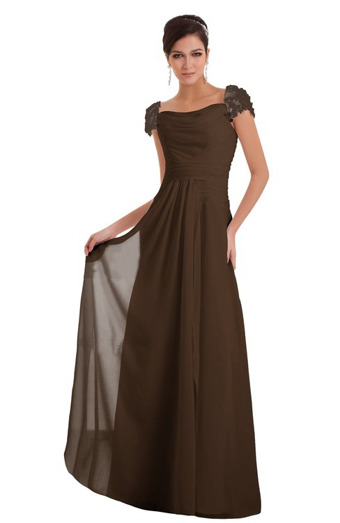 ColsBM Carlee Chocolate Brown Elegant A-line Wide Square Short Sleeve Appliques Bridesmaid Dresses