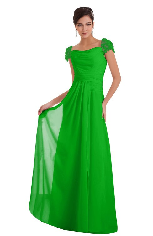 ColsBM Carlee Classic Green Elegant A-line Wide Square Short Sleeve Appliques Bridesmaid Dresses