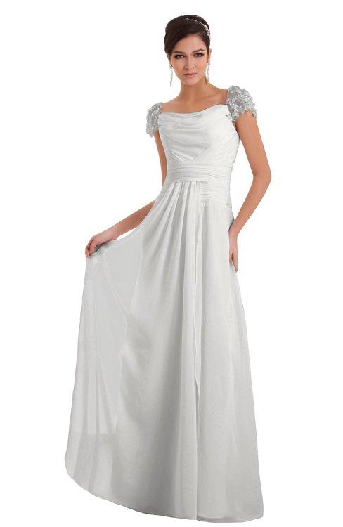 ColsBM Carlee Cloud White Elegant A-line Wide Square Short Sleeve Appliques Bridesmaid Dresses