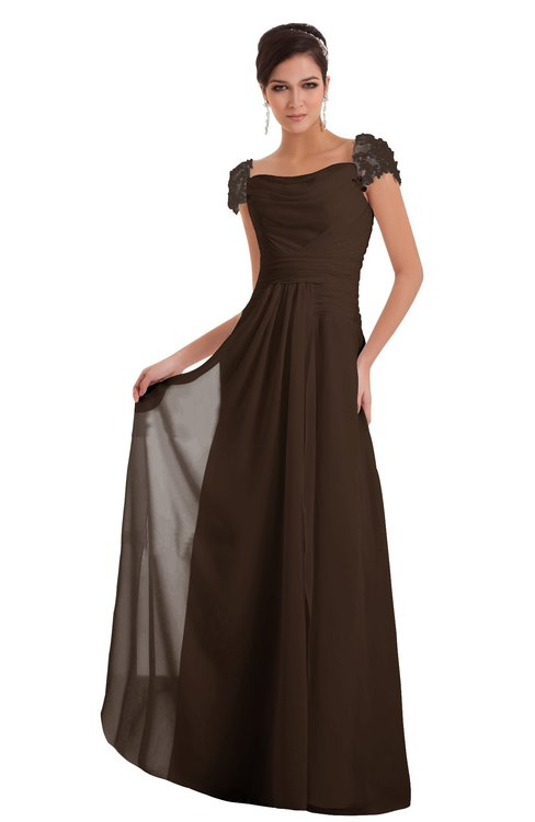 ColsBM Carlee Copper Elegant A-line Wide Square Short Sleeve Appliques Bridesmaid Dresses