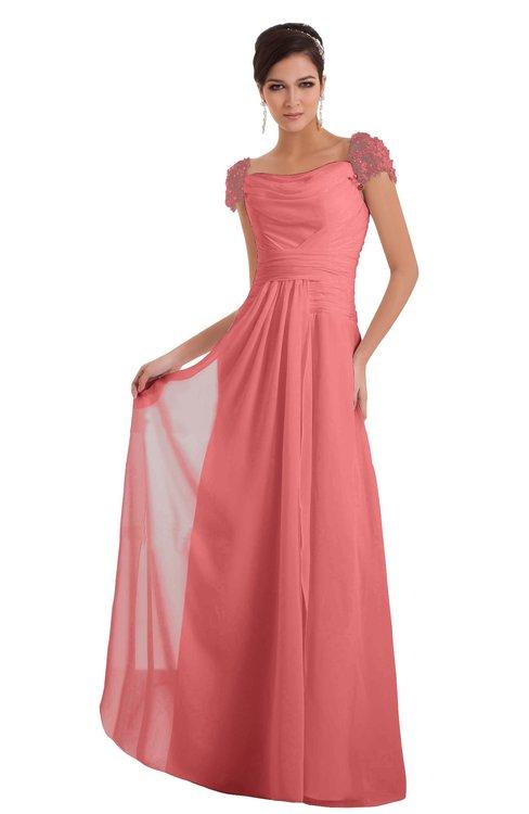 ColsBM Carlee Coral Elegant A-line Wide Square Short Sleeve Appliques Bridesmaid Dresses