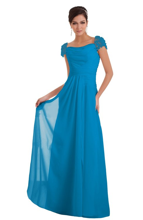 ColsBM Carlee Cornflower Blue Elegant A-line Wide Square Short Sleeve Appliques Bridesmaid Dresses