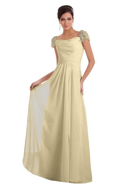 ColsBM Carlee Cornhusk Elegant A-line Wide Square Short Sleeve Appliques Bridesmaid Dresses