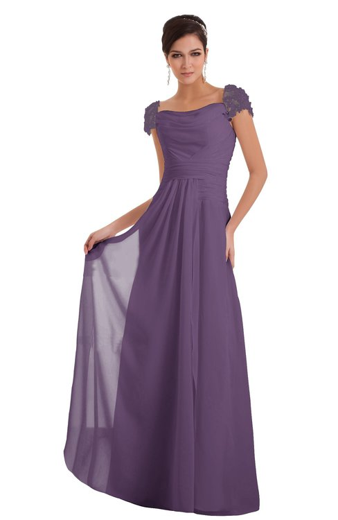 ColsBM Carlee Eggplant Elegant A-line Wide Square Short Sleeve Appliques Bridesmaid Dresses