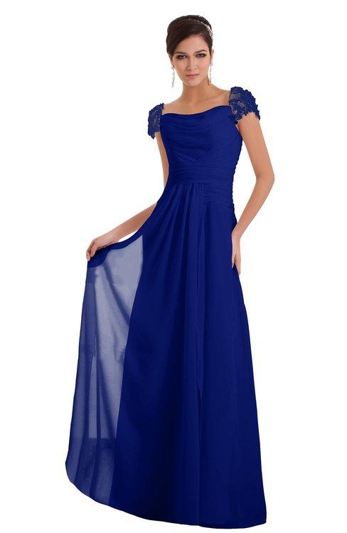 ColsBM Carlee Electric Blue Elegant A-line Wide Square Short Sleeve Appliques Bridesmaid Dresses