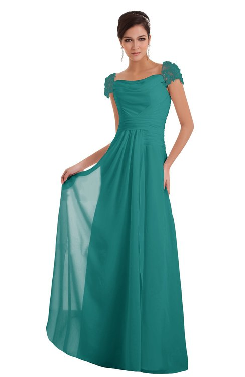 ColsBM Carlee Emerald Green Elegant A-line Wide Square Short Sleeve Appliques Bridesmaid Dresses