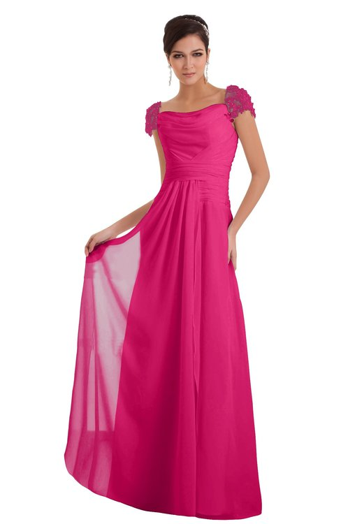 ColsBM Carlee Fandango Pink Elegant A-line Wide Square Short Sleeve Appliques Bridesmaid Dresses