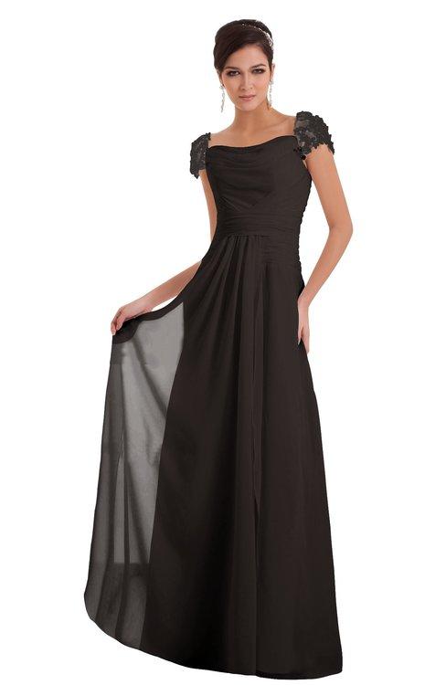 ColsBM Carlee Fudge Brown Elegant A-line Wide Square Short Sleeve Appliques Bridesmaid Dresses