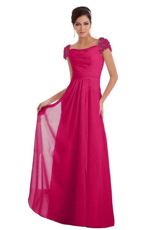 ColsBM Carlee Fuschia Elegant A-line Wide Square Short Sleeve Appliques Bridesmaid Dresses