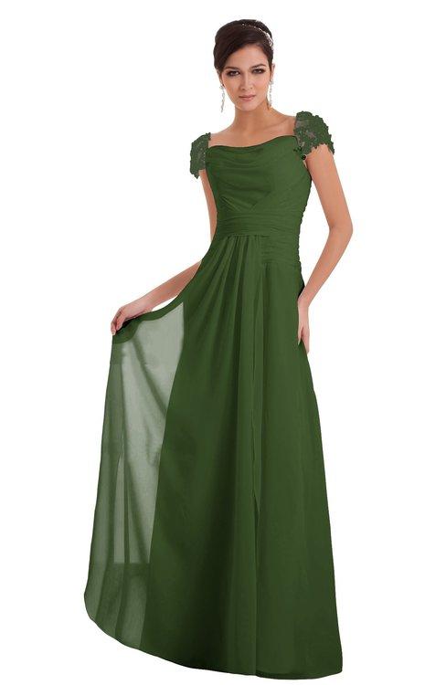 ColsBM Carlee Garden Green Elegant A-line Wide Square Short Sleeve Appliques Bridesmaid Dresses