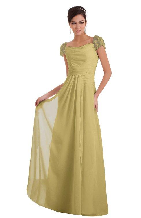 ColsBM Carlee Gold Elegant A-line Wide Square Short Sleeve Appliques Bridesmaid Dresses