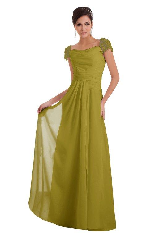 ColsBM Carlee Golden Olive Elegant A-line Wide Square Short Sleeve Appliques Bridesmaid Dresses
