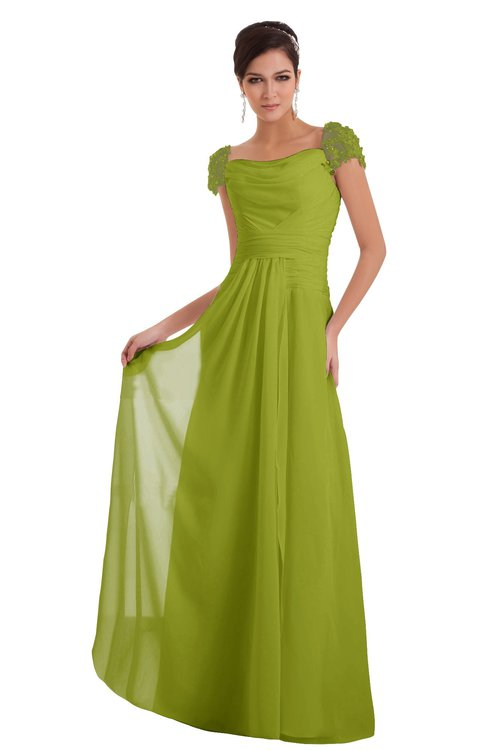 ColsBM Carlee Green Oasis Elegant A-line Wide Square Short Sleeve Appliques Bridesmaid Dresses
