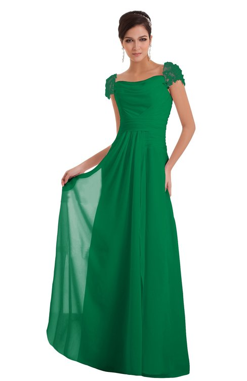 ColsBM Carlee Green Elegant A-line Wide Square Short Sleeve Appliques Bridesmaid Dresses