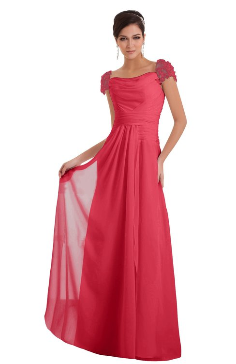 ColsBM Carlee Guava Elegant A-line Wide Square Short Sleeve Appliques Bridesmaid Dresses
