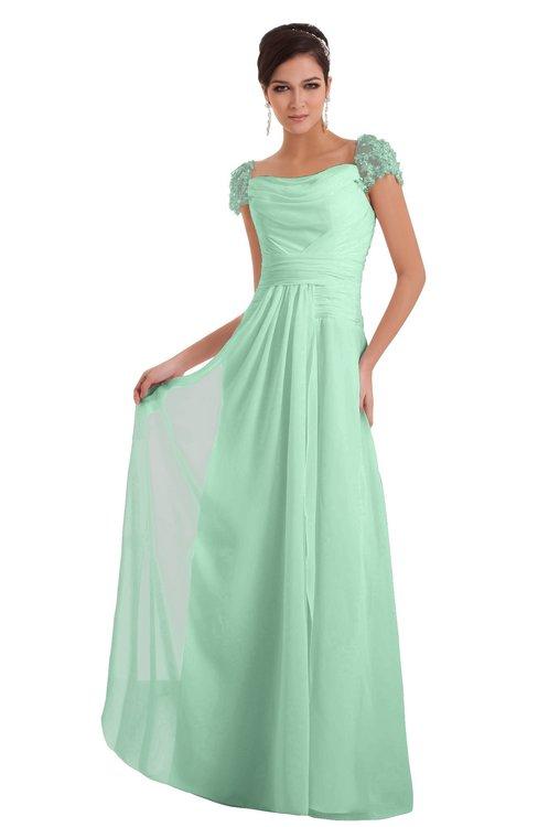 ColsBM Carlee Honeydew Elegant A-line Wide Square Short Sleeve Appliques Bridesmaid Dresses