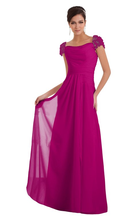 cf2e83483f7 ColsBM Carlee Hot Pink Elegant A-line Wide Square Short Sleeve Appliques Bridesmaid  Dresses