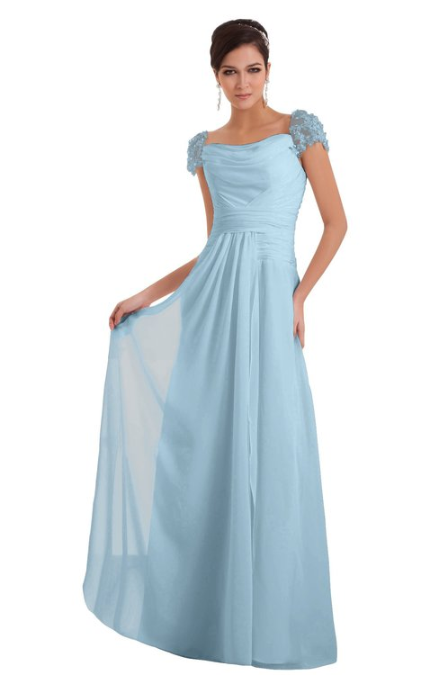ColsBM Carlee Ice Blue Elegant A-line Wide Square Short Sleeve Appliques Bridesmaid Dresses