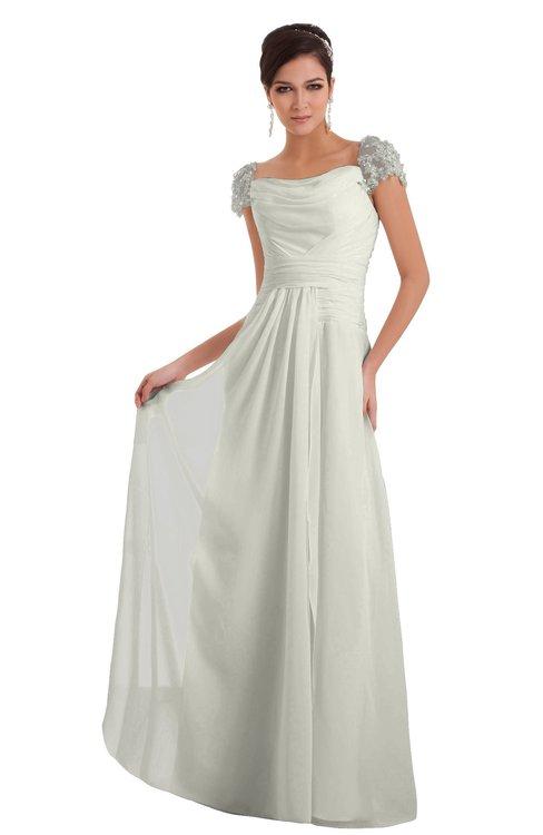 ColsBM Carlee Ivory Elegant A-line Wide Square Short Sleeve Appliques Bridesmaid Dresses