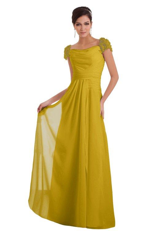 ColsBM Carlee Lemon Curry Elegant A-line Wide Square Short Sleeve Appliques Bridesmaid Dresses