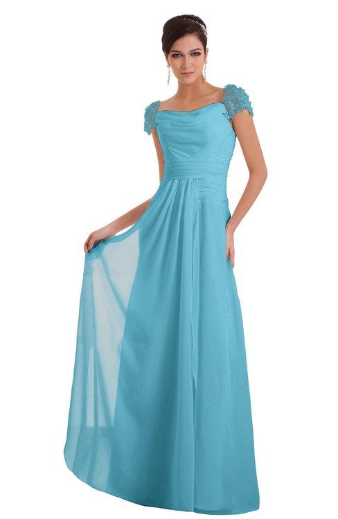 ColsBM Carlee Light Blue Elegant A-line Wide Square Short Sleeve Appliques Bridesmaid Dresses