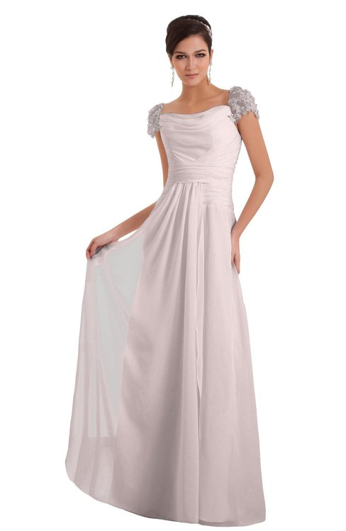 ColsBM Carlee Light Pink Elegant A-line Wide Square Short Sleeve Appliques Bridesmaid Dresses