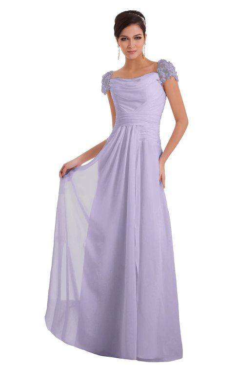 ColsBM Carlee Light Purple Elegant A-line Wide Square Short Sleeve Appliques Bridesmaid Dresses