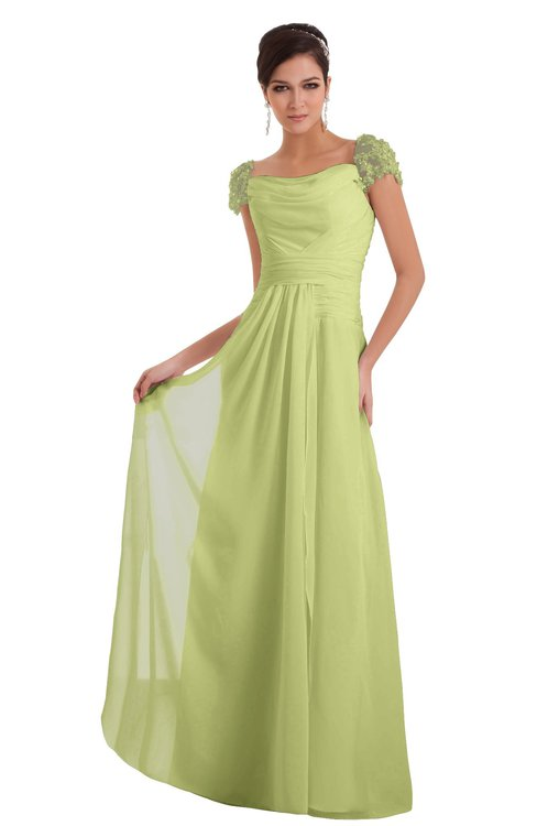 ColsBM Carlee Lime Green Elegant A-line Wide Square Short Sleeve Appliques Bridesmaid Dresses