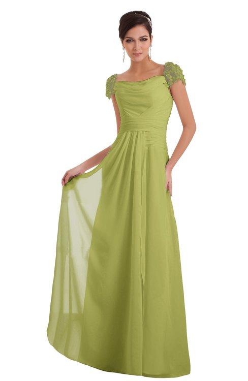 ColsBM Carlee Linden Green Elegant A-line Wide Square Short Sleeve Appliques Bridesmaid Dresses