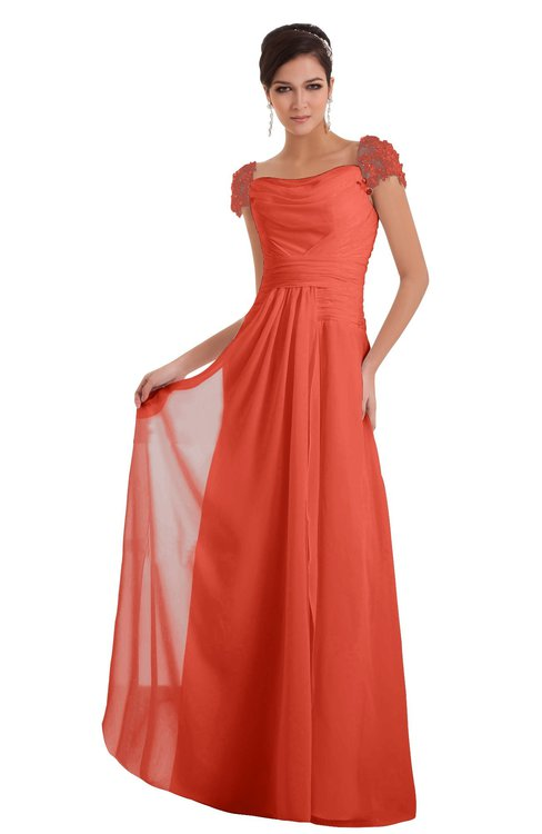 ColsBM Carlee Living Coral Elegant A-line Wide Square Short Sleeve Appliques Bridesmaid Dresses