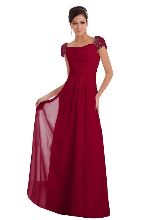 ColsBM Carlee Maroon Elegant A-line Wide Square Short Sleeve Appliques Bridesmaid Dresses