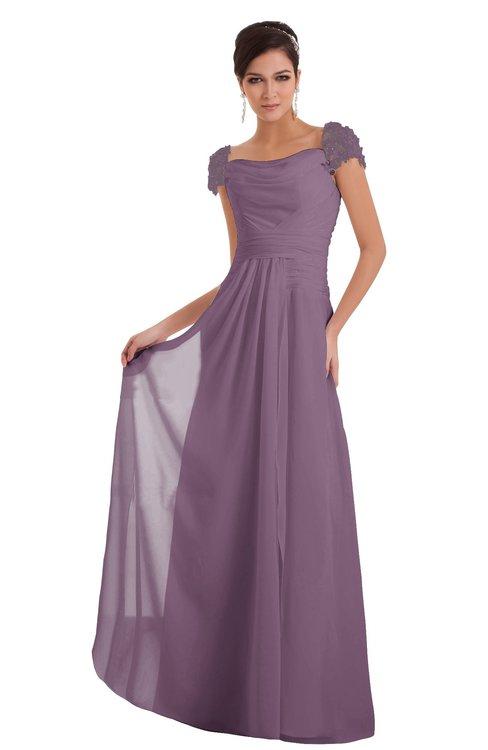 ColsBM Carlee Mauve Elegant A-line Wide Square Short Sleeve Appliques Bridesmaid Dresses