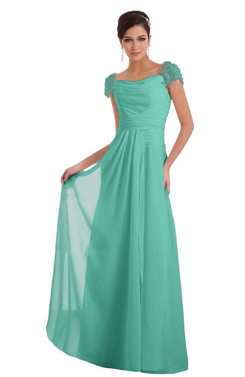 ColsBM Carlee Mint Green Elegant A-line Wide Square Short Sleeve Appliques Bridesmaid Dresses