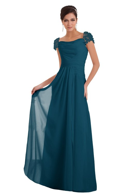 ColsBM Carlee Moroccan Blue Elegant A-line Wide Square Short Sleeve Appliques Bridesmaid Dresses