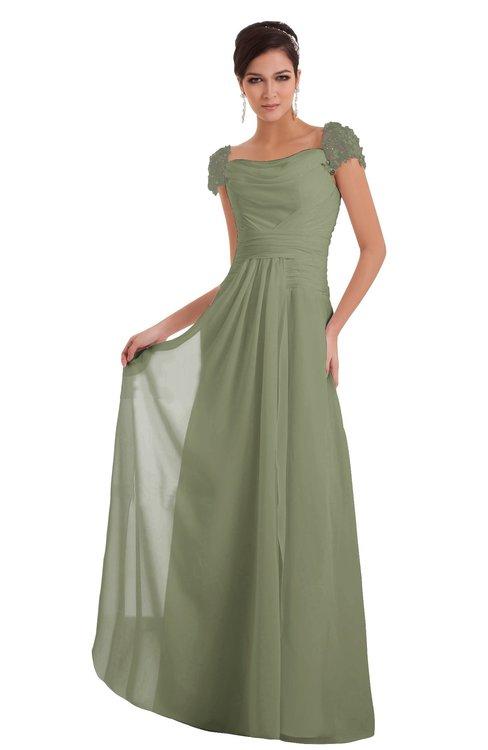 ColsBM Carlee Moss Green Elegant A-line Wide Square Short Sleeve Appliques Bridesmaid Dresses