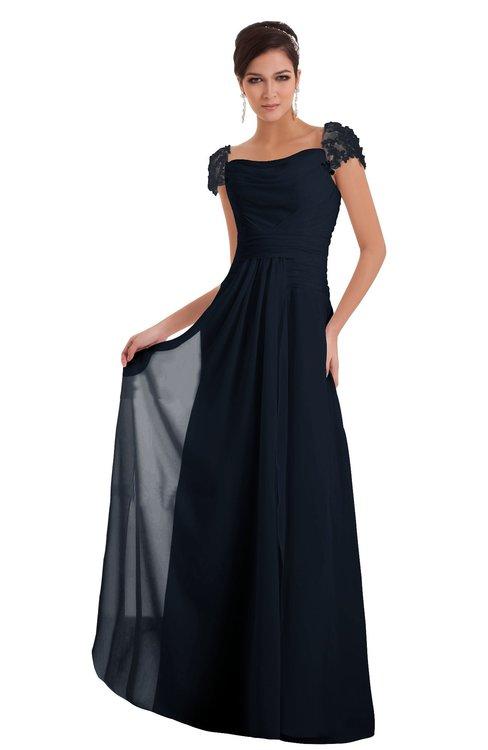 ColsBM Carlee Navy Blue Elegant A-line Wide Square Short Sleeve Appliques Bridesmaid Dresses
