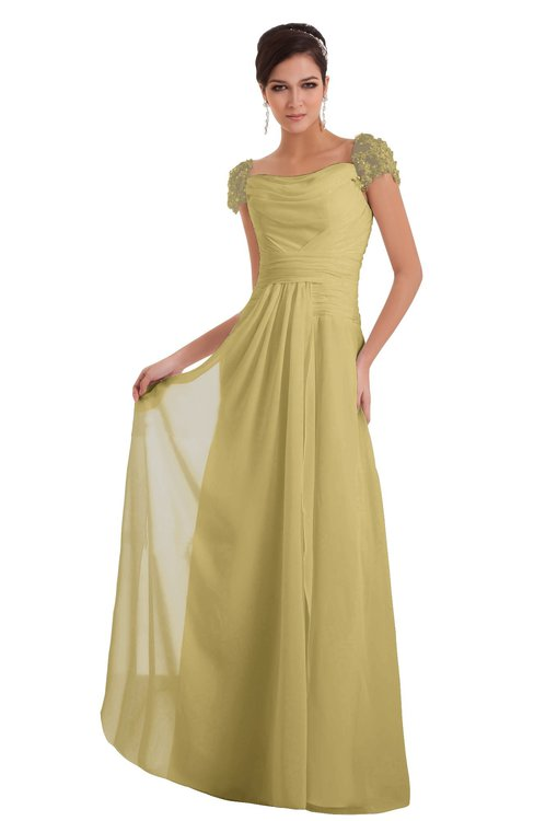 ColsBM Carlee New Wheat Elegant A-line Wide Square Short Sleeve Appliques Bridesmaid Dresses