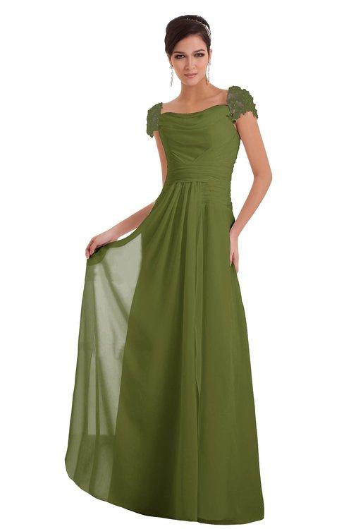ColsBM Carlee Olive Green Elegant A-line Wide Square Short Sleeve Appliques Bridesmaid Dresses