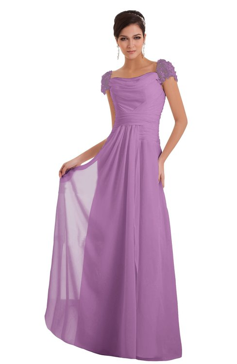 ColsBM Carlee Orchid Elegant A-line Wide Square Short Sleeve Appliques Bridesmaid Dresses